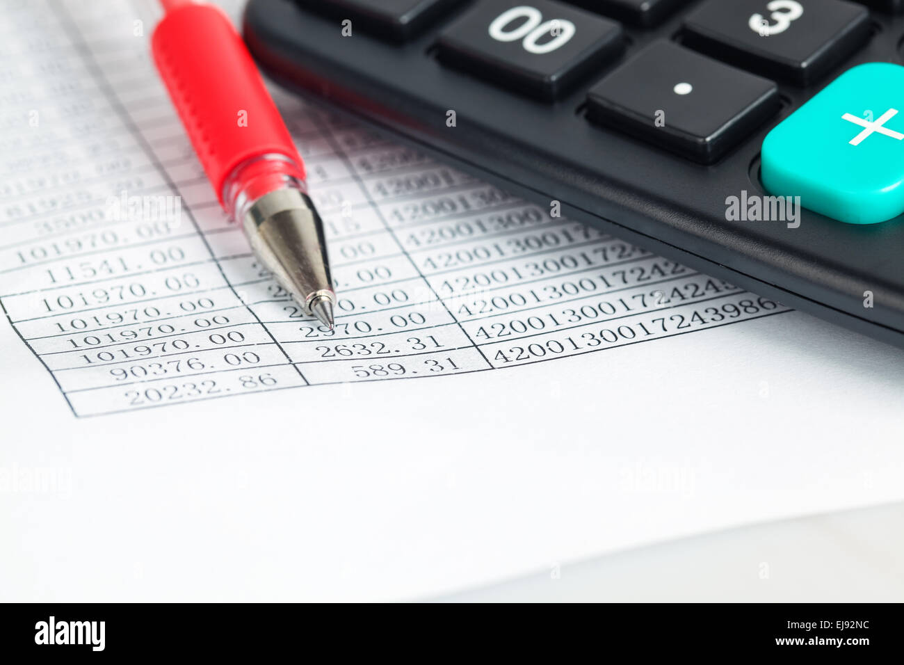 financial documents verification closeup - Stock Image