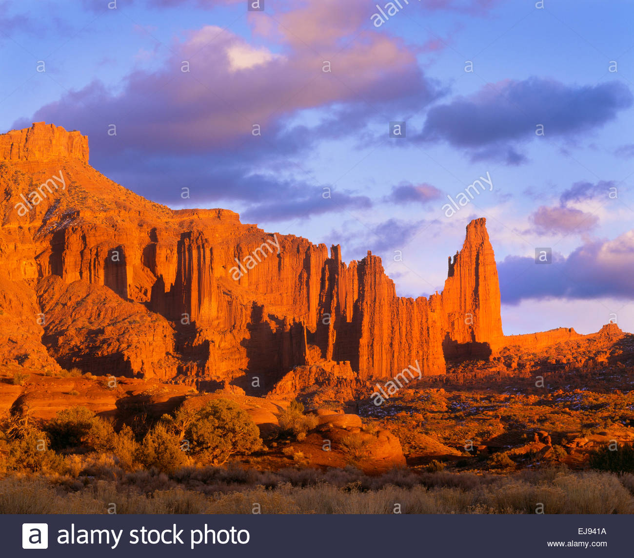 Fisher Towers at sunset.  BLM.  Southeast Utah. Stock Photo