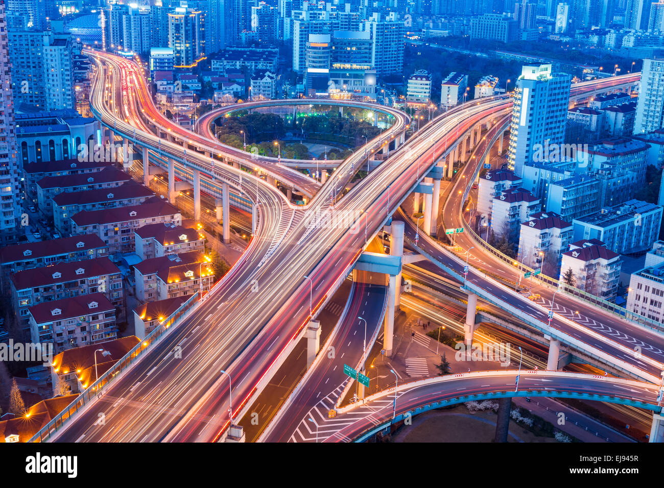 beautiful city interchange closeup in shanghai - Stock Image