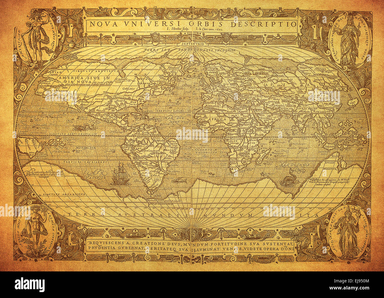 vintage map of the world 1602 - Stock Image