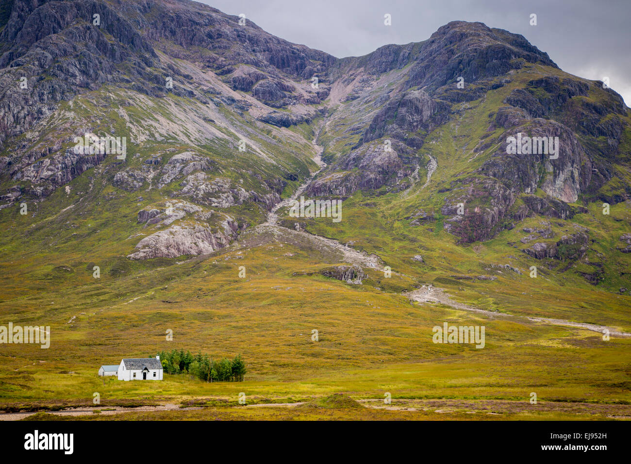 Solitary small home in Scottish Highlands near Glencoe, Scotland, UK - Stock Image