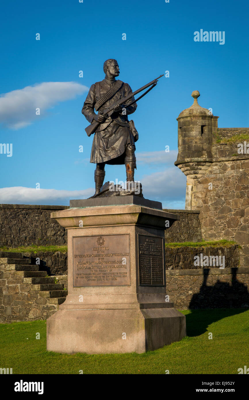 Memorial at Stirling Castle to Highland soldiers lost during South African (Boer) War (1899-1902), Stirling, Scotland, - Stock Image