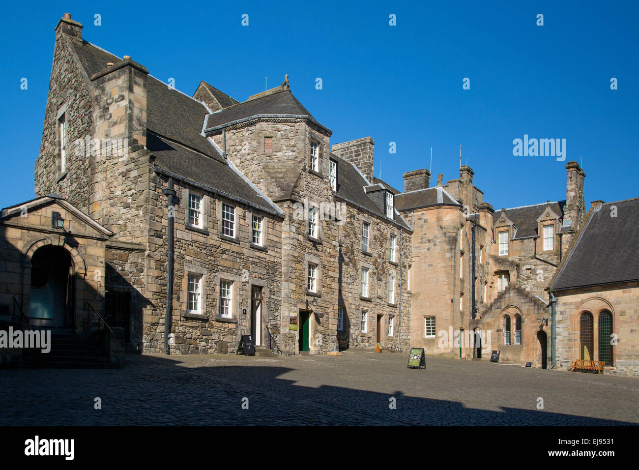 Inside the walls of Stirling Castle, the courtyard and royal residence, Stirling, Scotland, UK - Stock Image