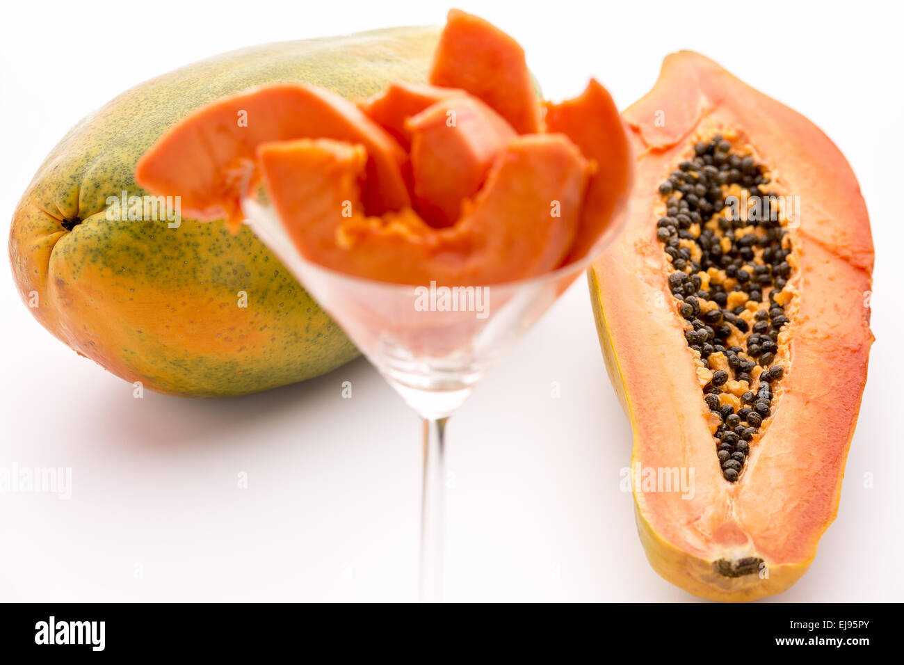 Full of nutrients and papain - the Papaya - Stock Image