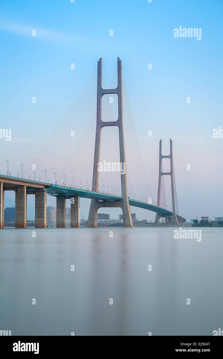 cable stayed bridge closeup - Stock Image
