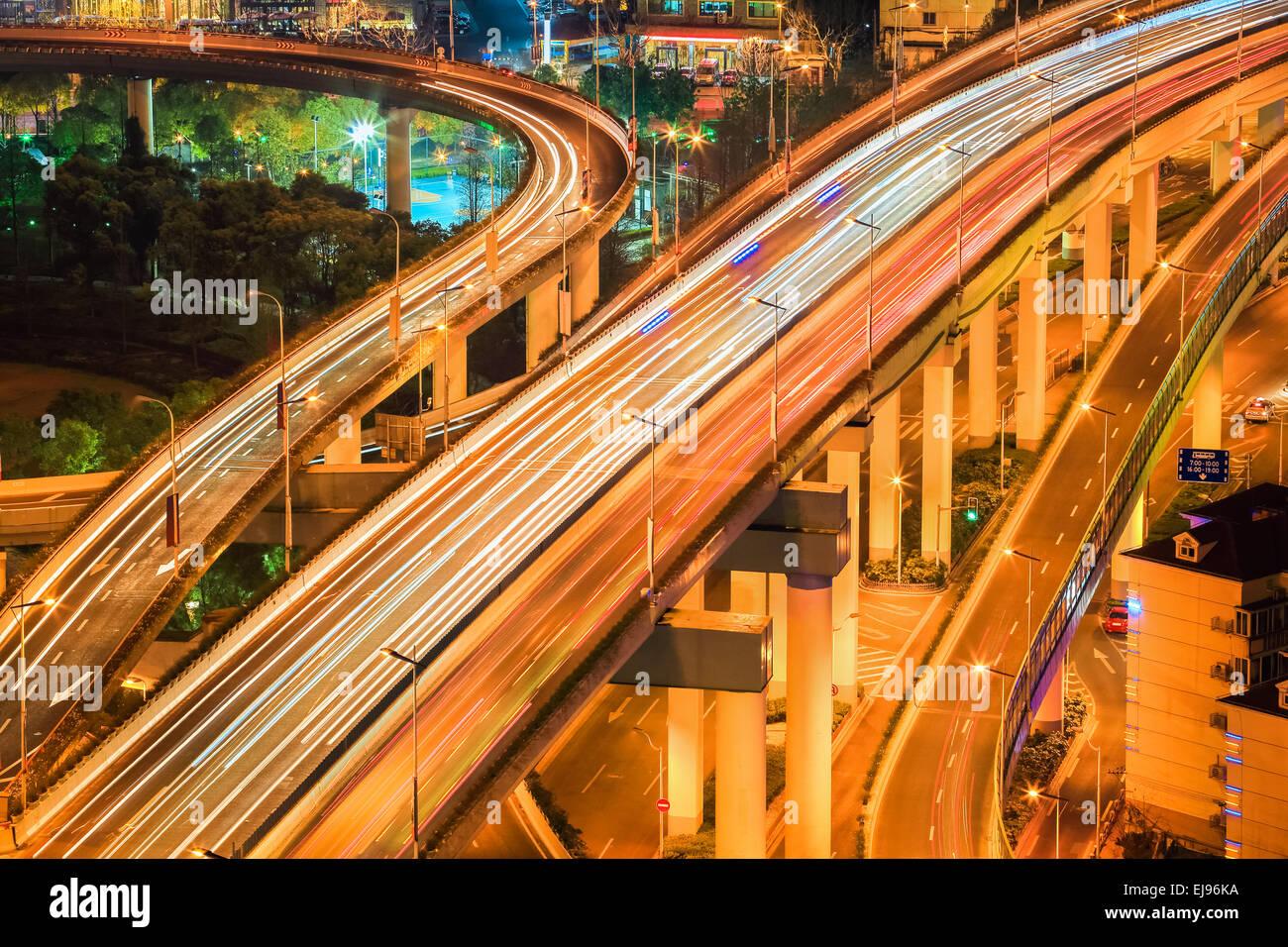 flyover closeup at night - Stock Image