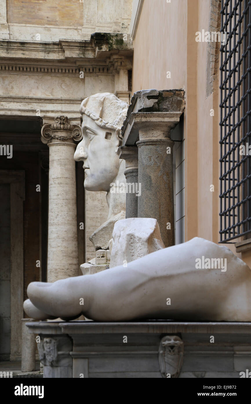 Roman Emperor Constantine I (272-337 AD). Colossal statue at the Capitoline Museums. 4th century. Rome. Italy. - Stock Image