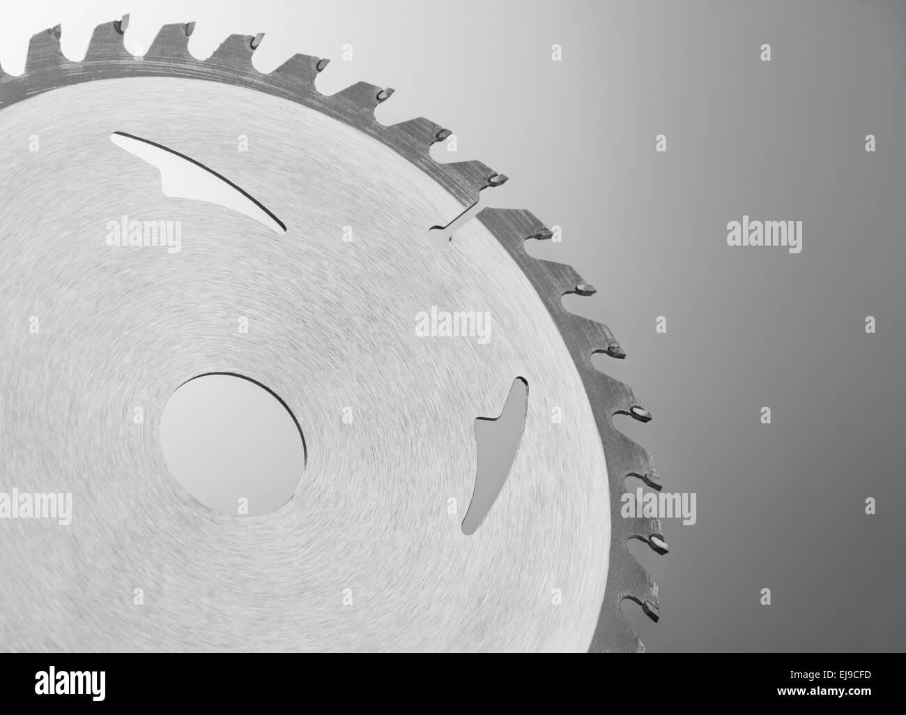 Close up of a circular saw blade - Stock Image