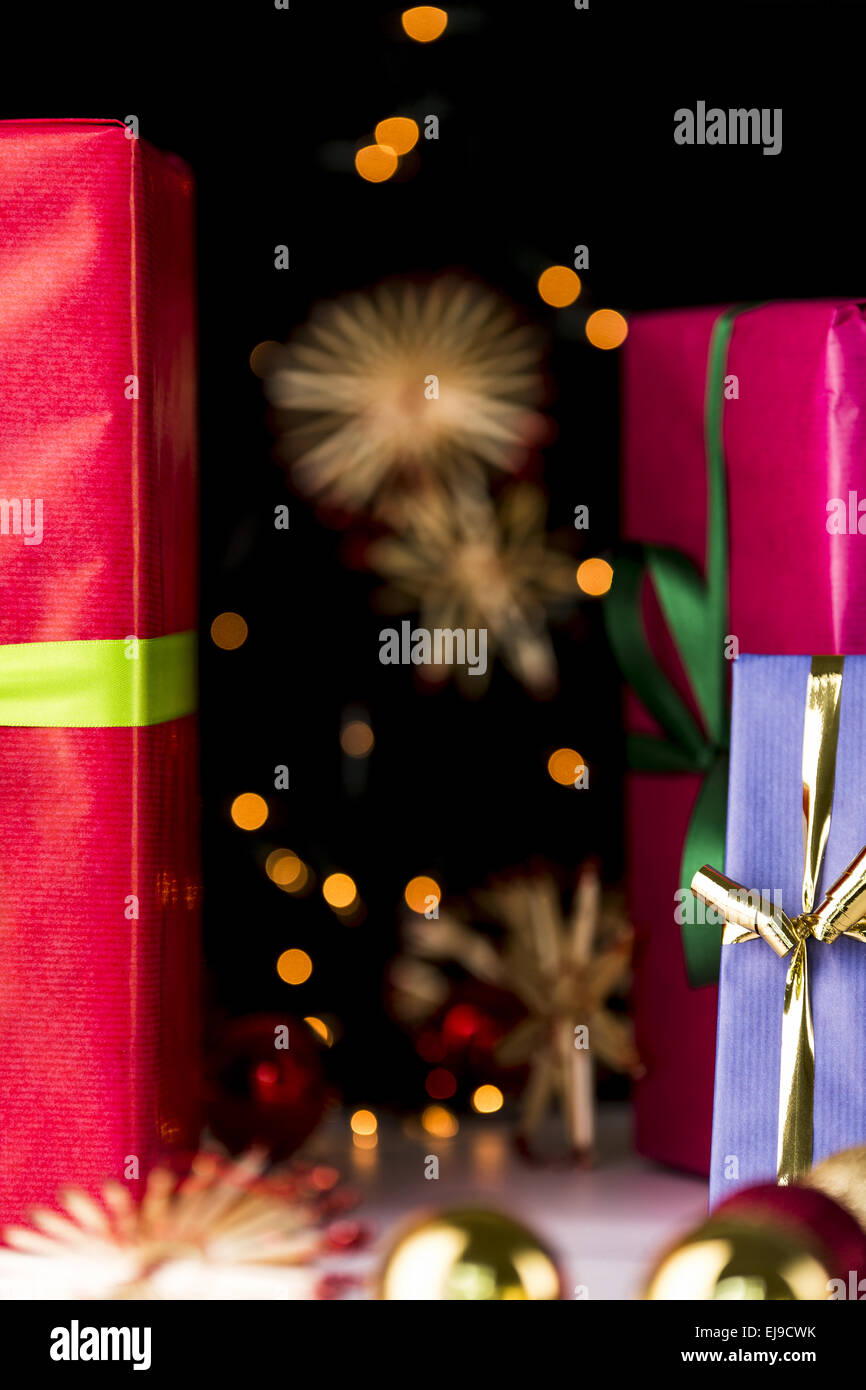 Gifts, glitters, spheres and stars - Stock Image