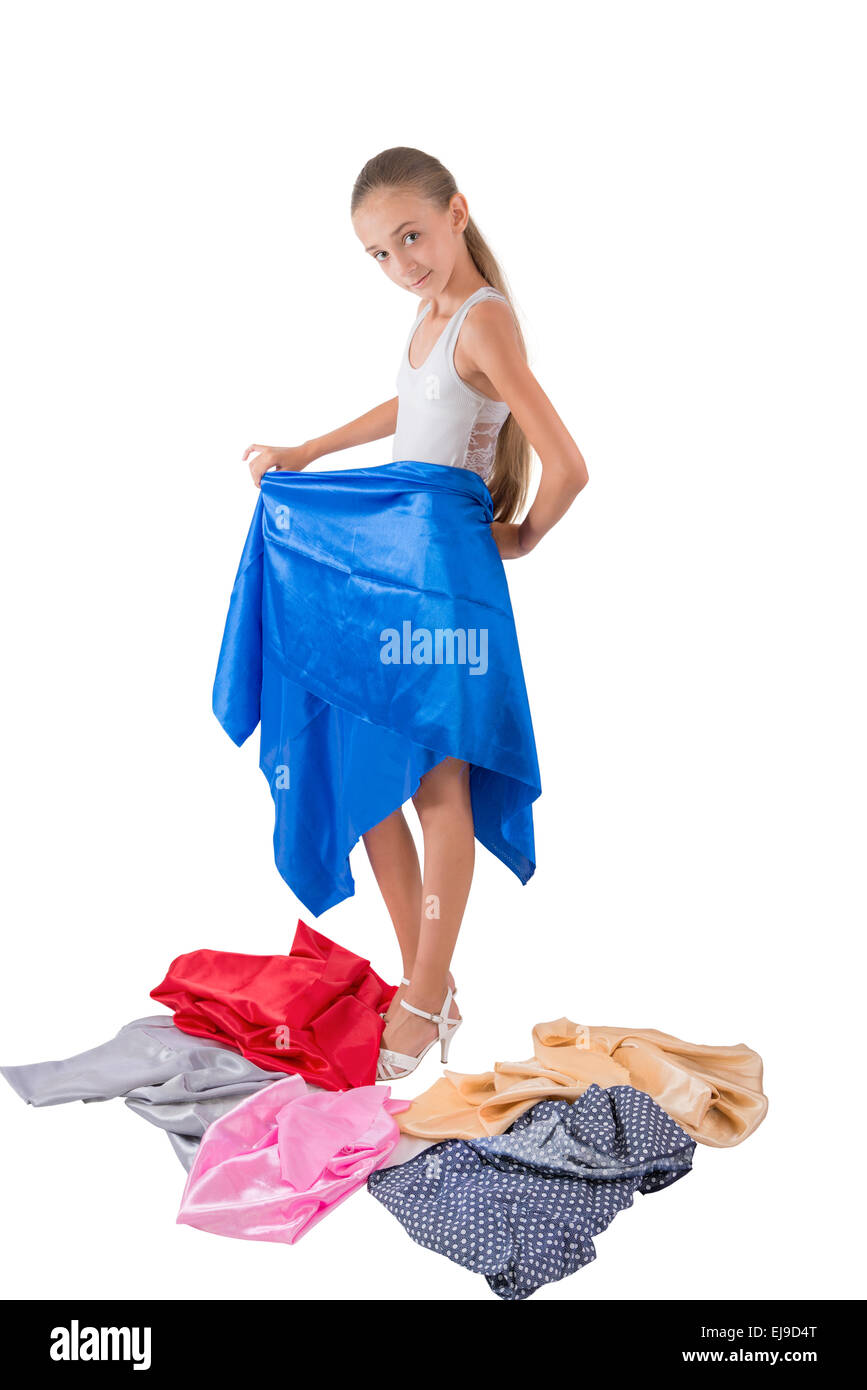The girl tries on fabric - Stock Image