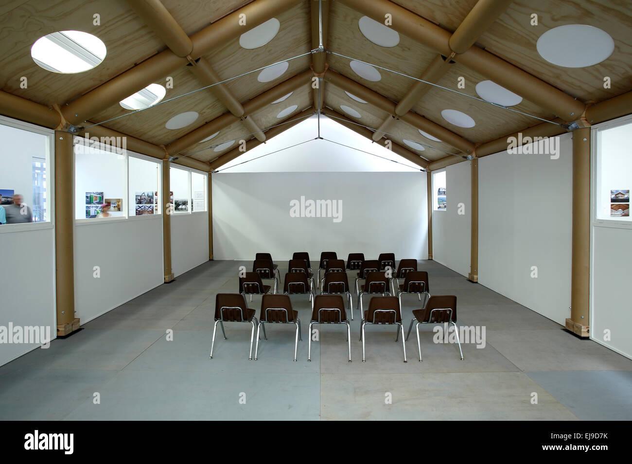 Humanitarian architecture exhibit (designed by Shigeru Ban), Aspen Art Museum (by architect Shigeru Ban), Aspen, - Stock Image