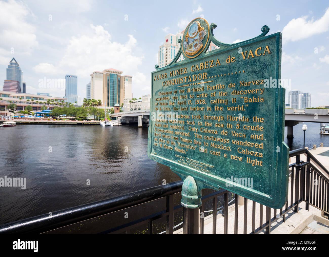 Cabeza de Vaca signpost Tampa Florida - Stock Image