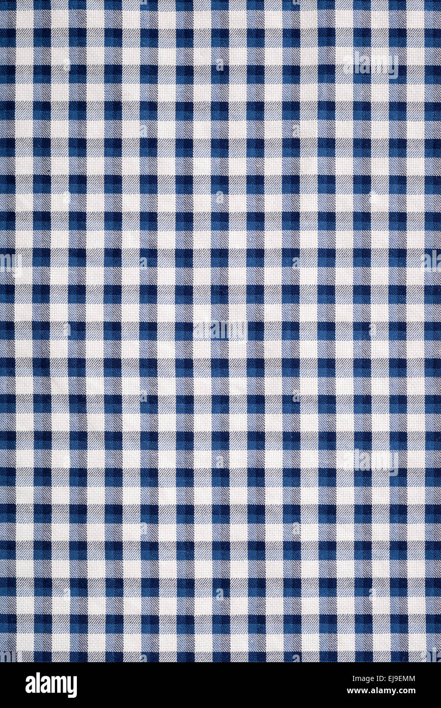 blue gingham cloth - Stock Image