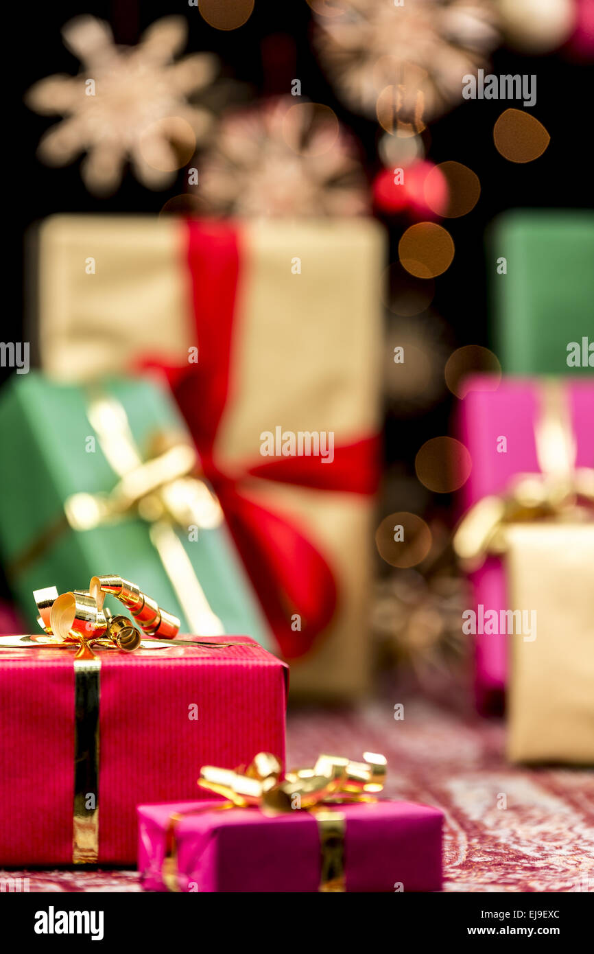 Xmas Gifts, Glitters and Stars - Stock Image