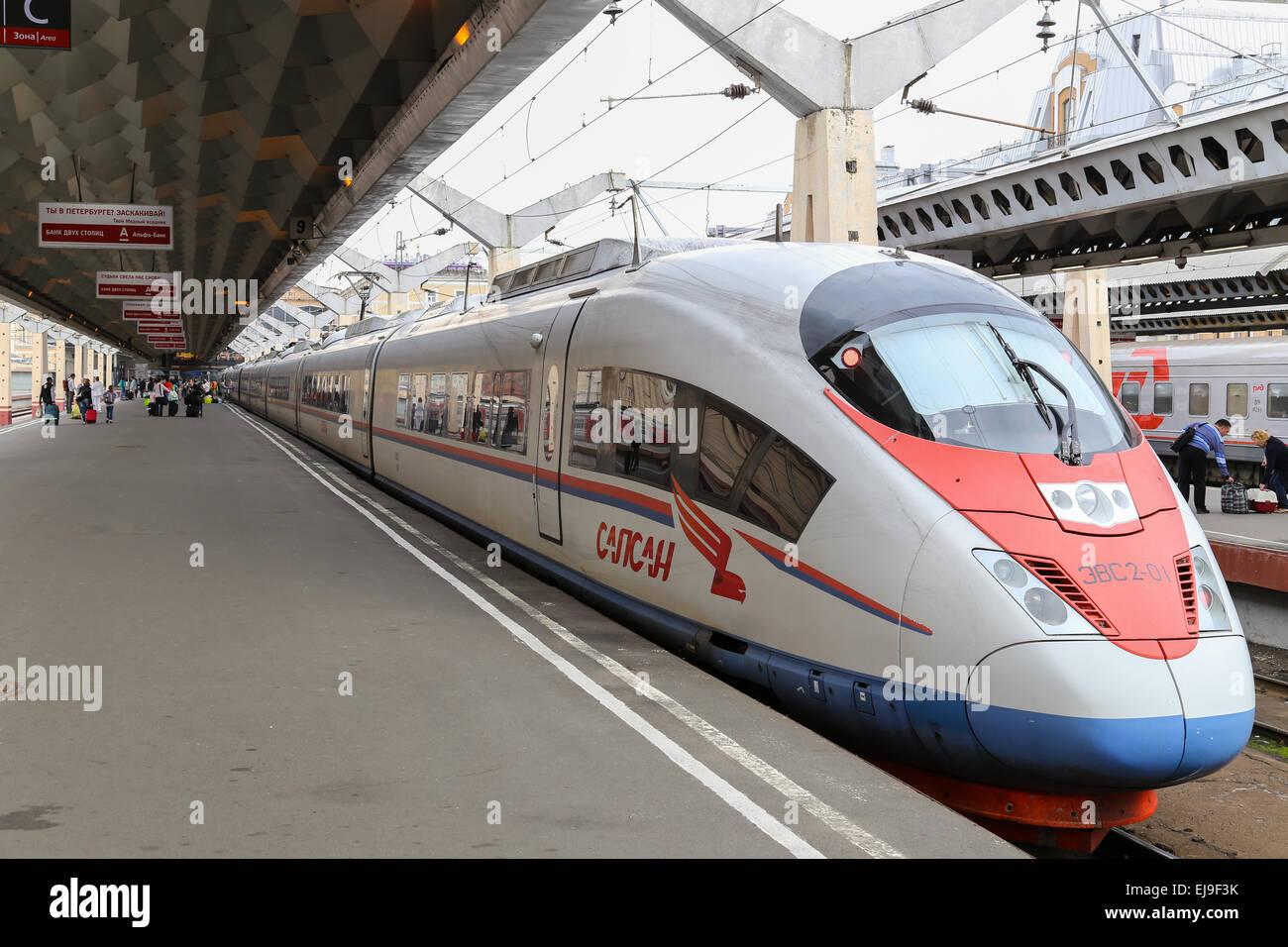Express Train Sapsan in Saint Petersburg - Stock Image