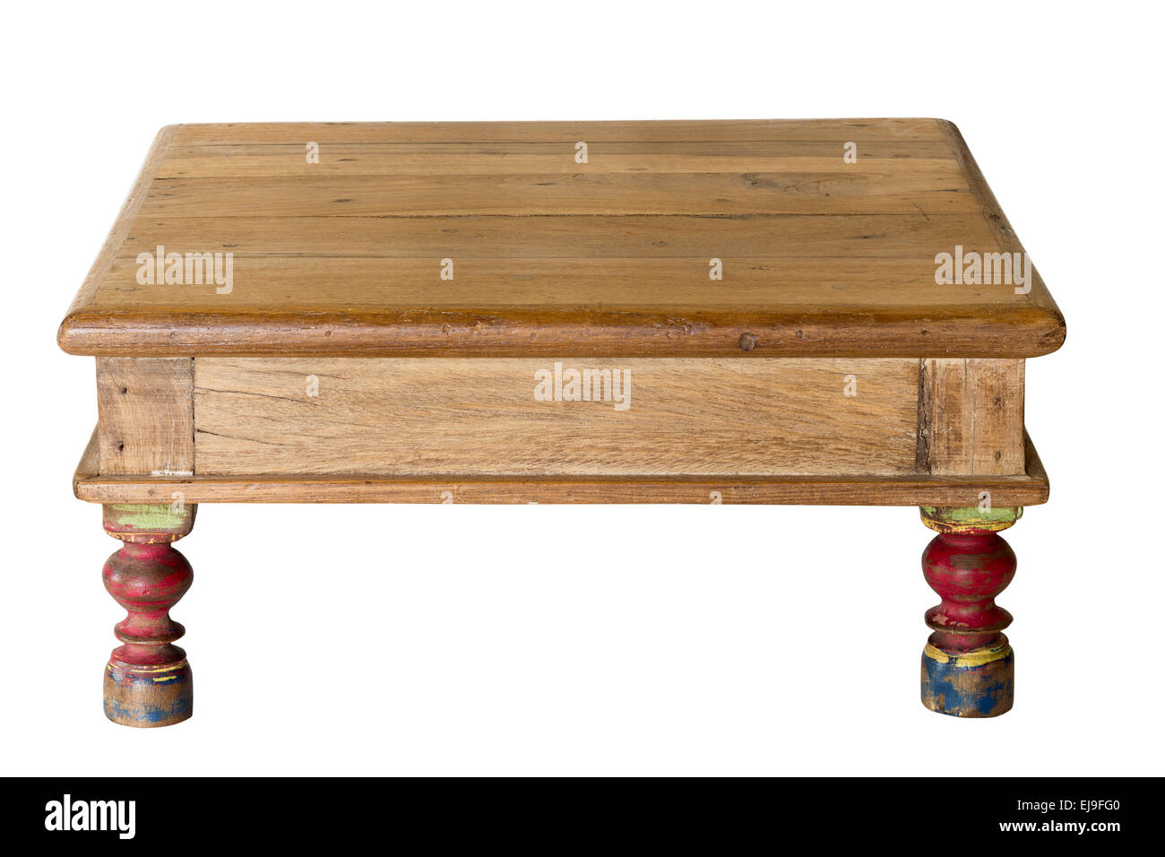 Old artisan table made from worn wood - Stock Image