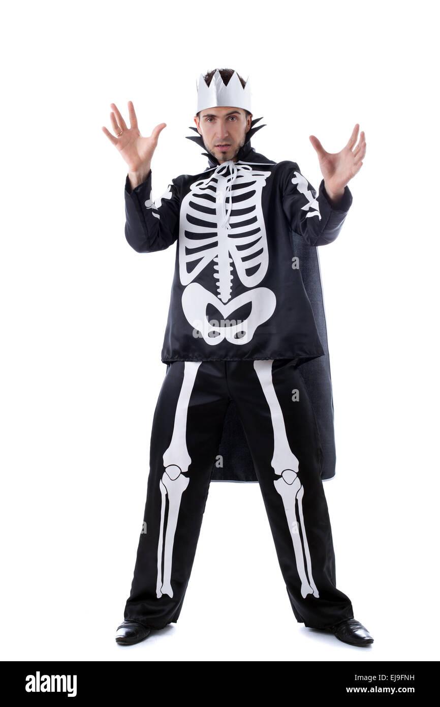 Handsome man posing in skeleton costume Stock Photo