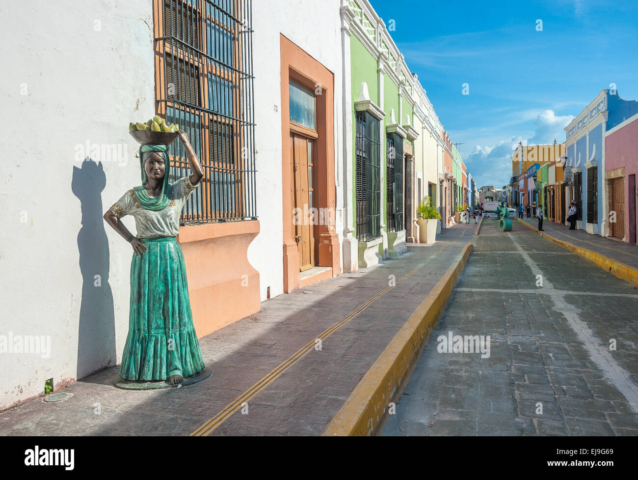 Streets of Campeche colonial town, Mexico Stock Photo