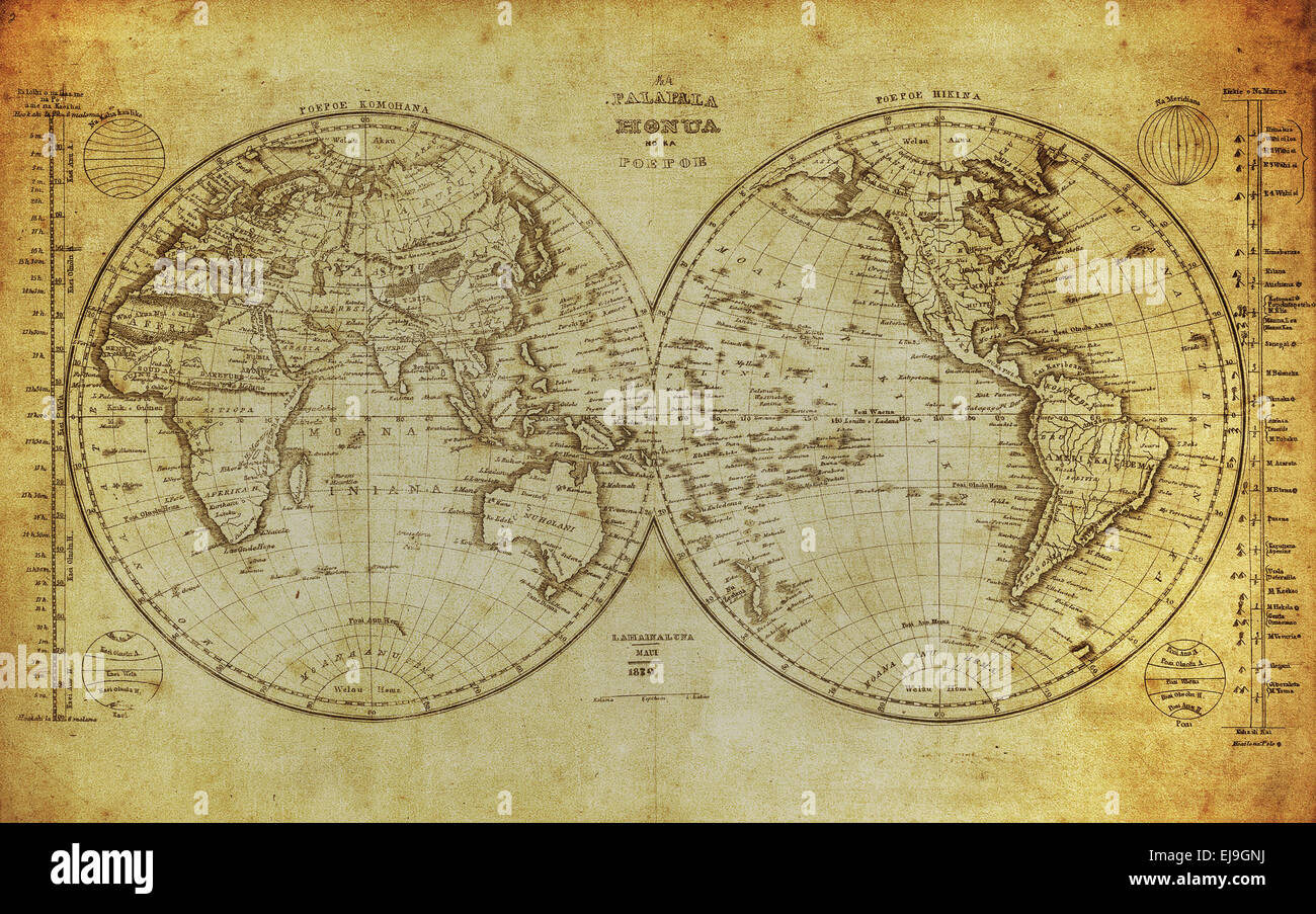 vintage map of the world 1839 - Stock Image