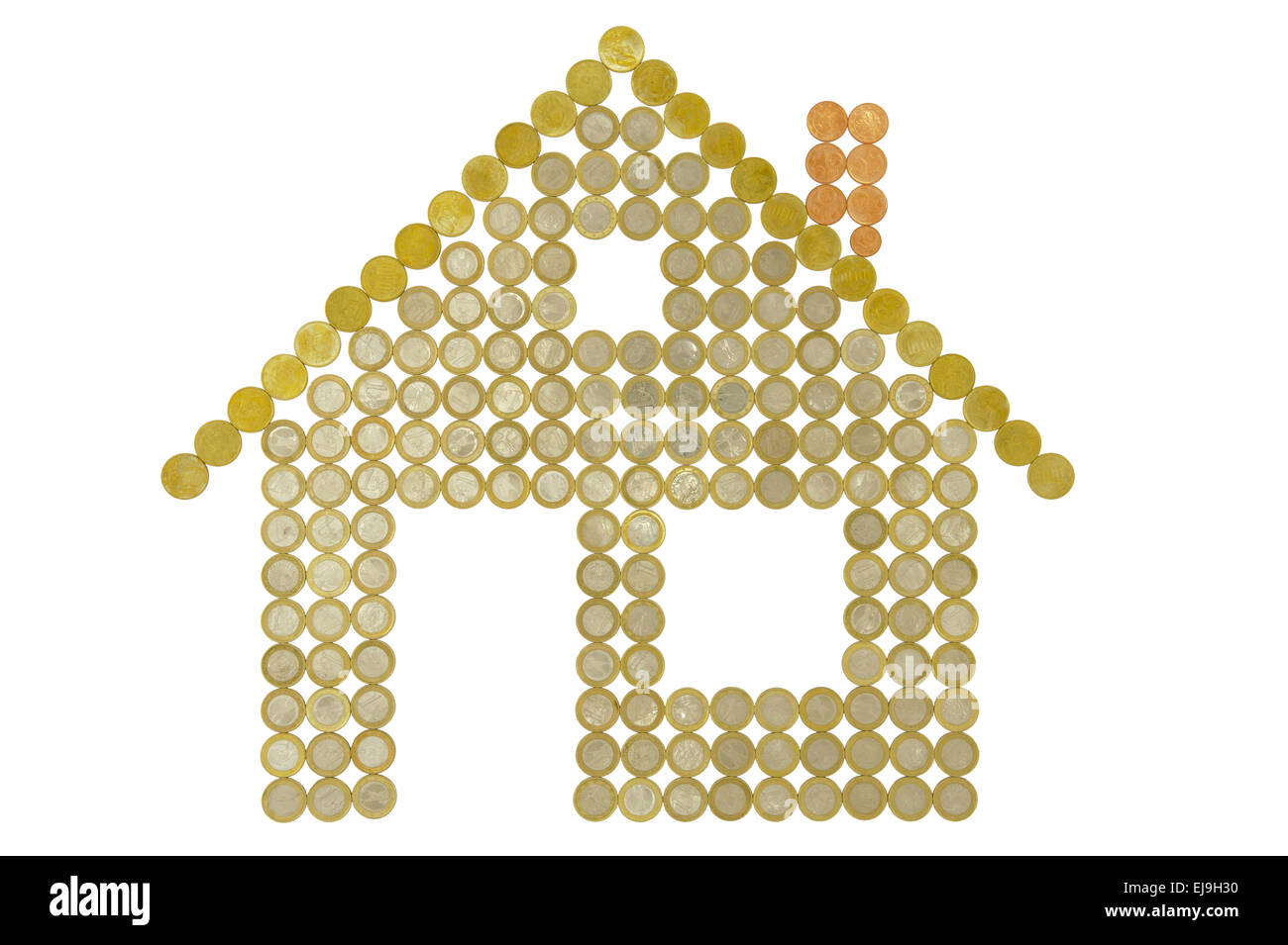 house built with Euro coins Stock Photo