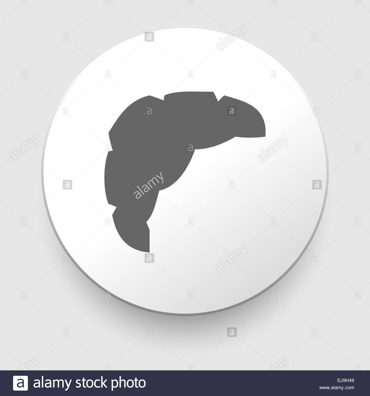 Croissant. Grey and white icon. Illustration - Stock Image