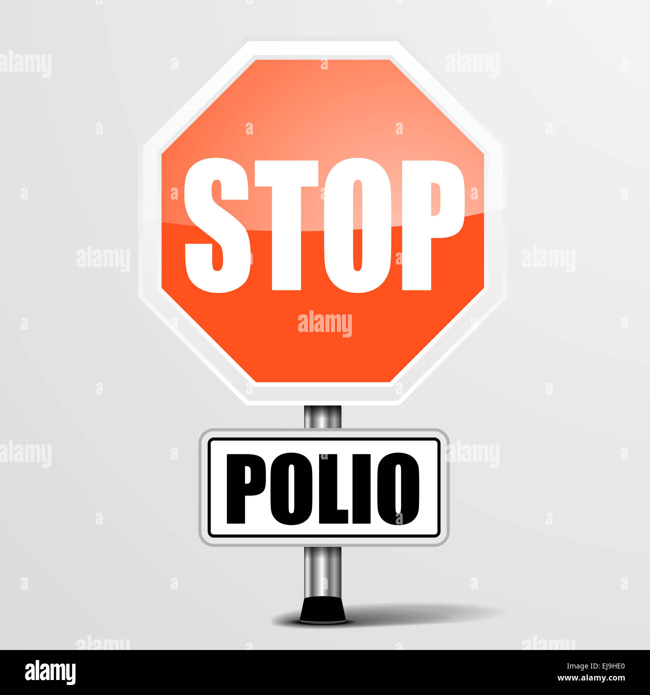 red polio Stop Sign - Stock Image