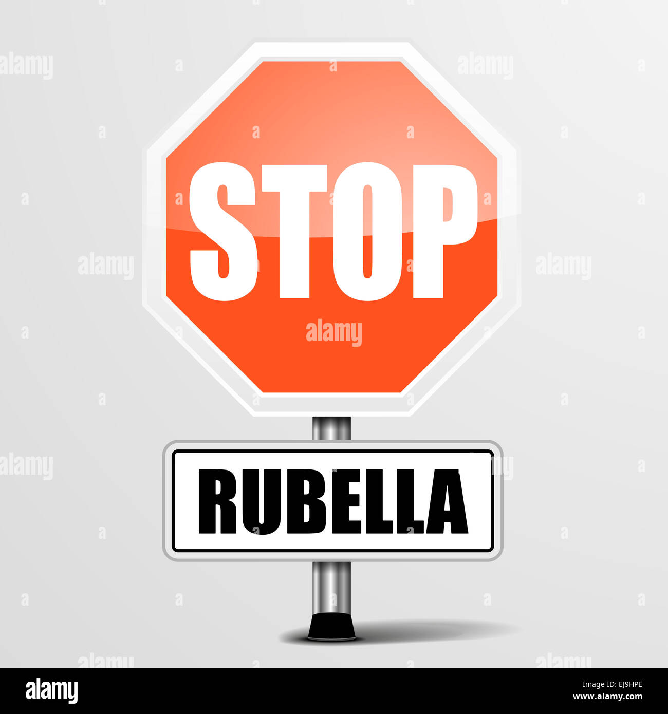 red rubella Stop Sign - Stock Image