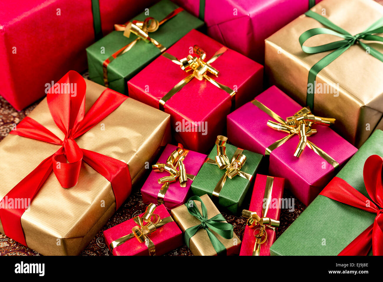 Tight Shot Brimming Over With Gifts - Stock Image