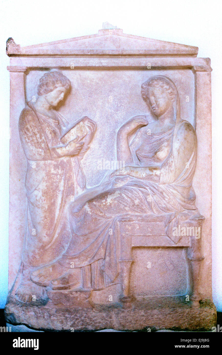 Funerary Stele Tomb Tombstone or Grave Marker of Krito & Timarista c5th BC Rhodes Archaeology Museum Greece - Stock Image