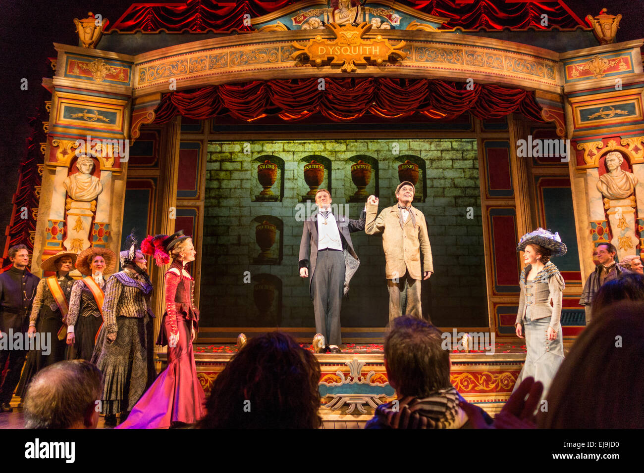 Bryce Pinkham & Jefferson Mays, curtain call, A Gentleman's Guide to Love & Murder, Walter Kerr Theater, - Stock Image