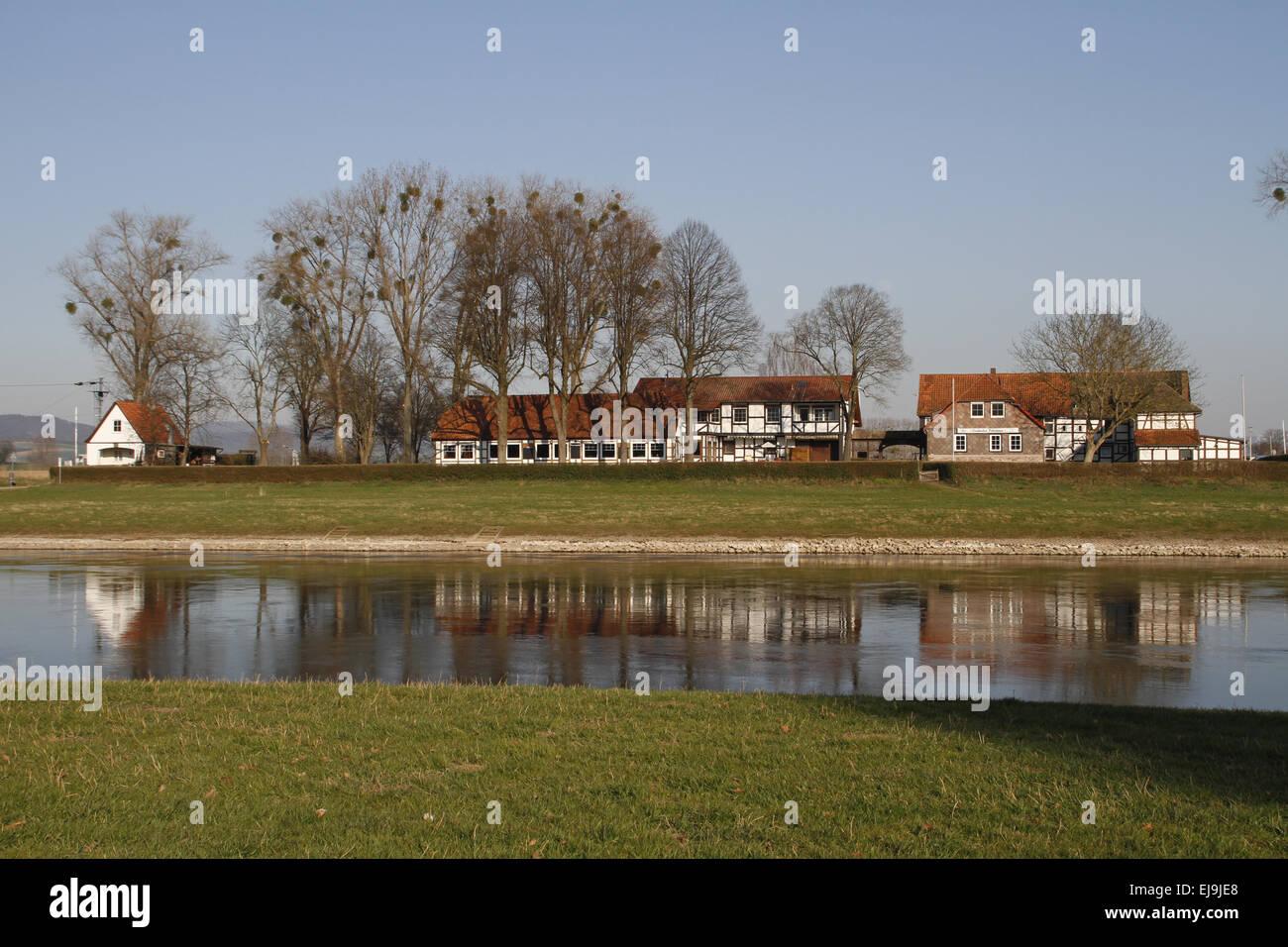 Grohnder Fährhaus, Weser Hills - Stock Image