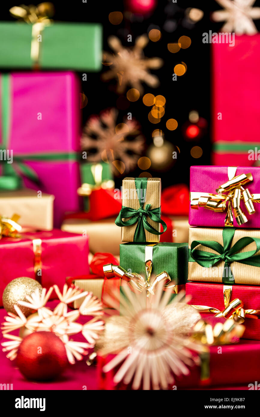 Little Xmas Gifts and Larger Presents - Stock Image