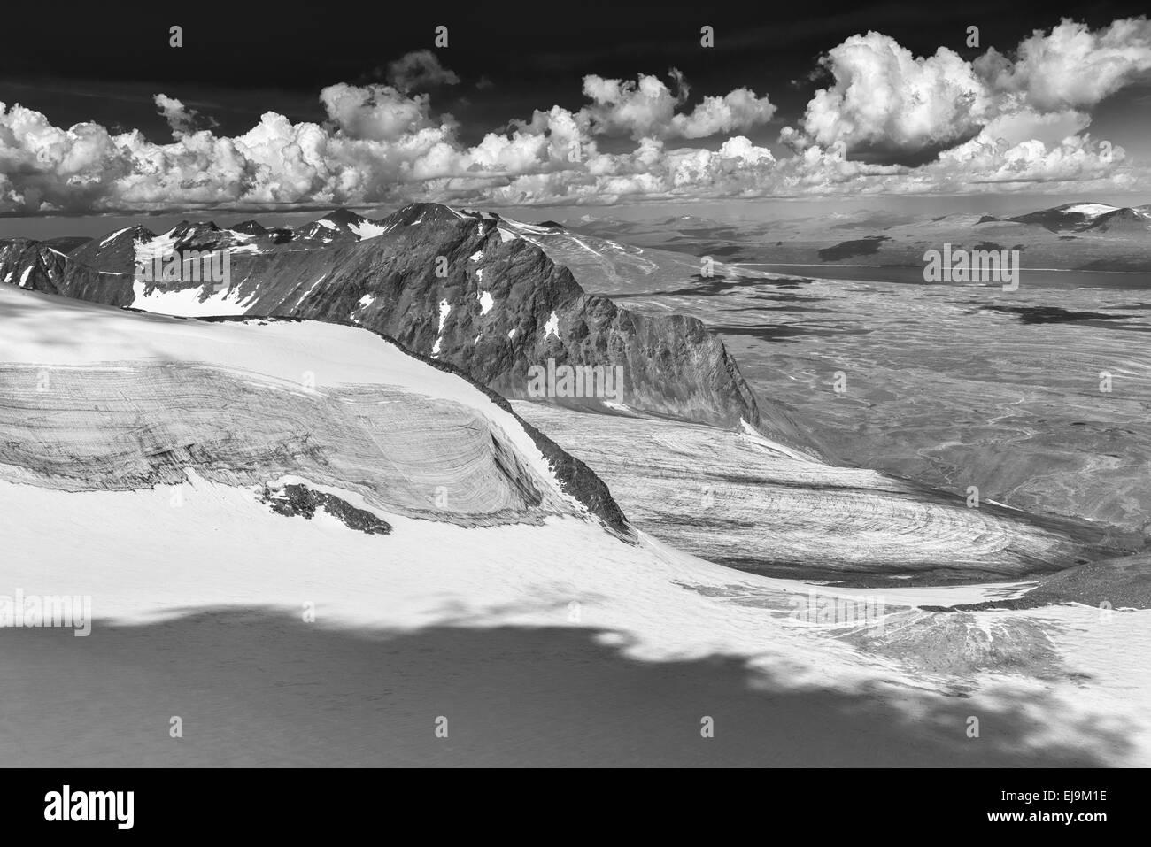 view from Sarek NP to Mt. Akka, Lapland, Sweden - Stock Image