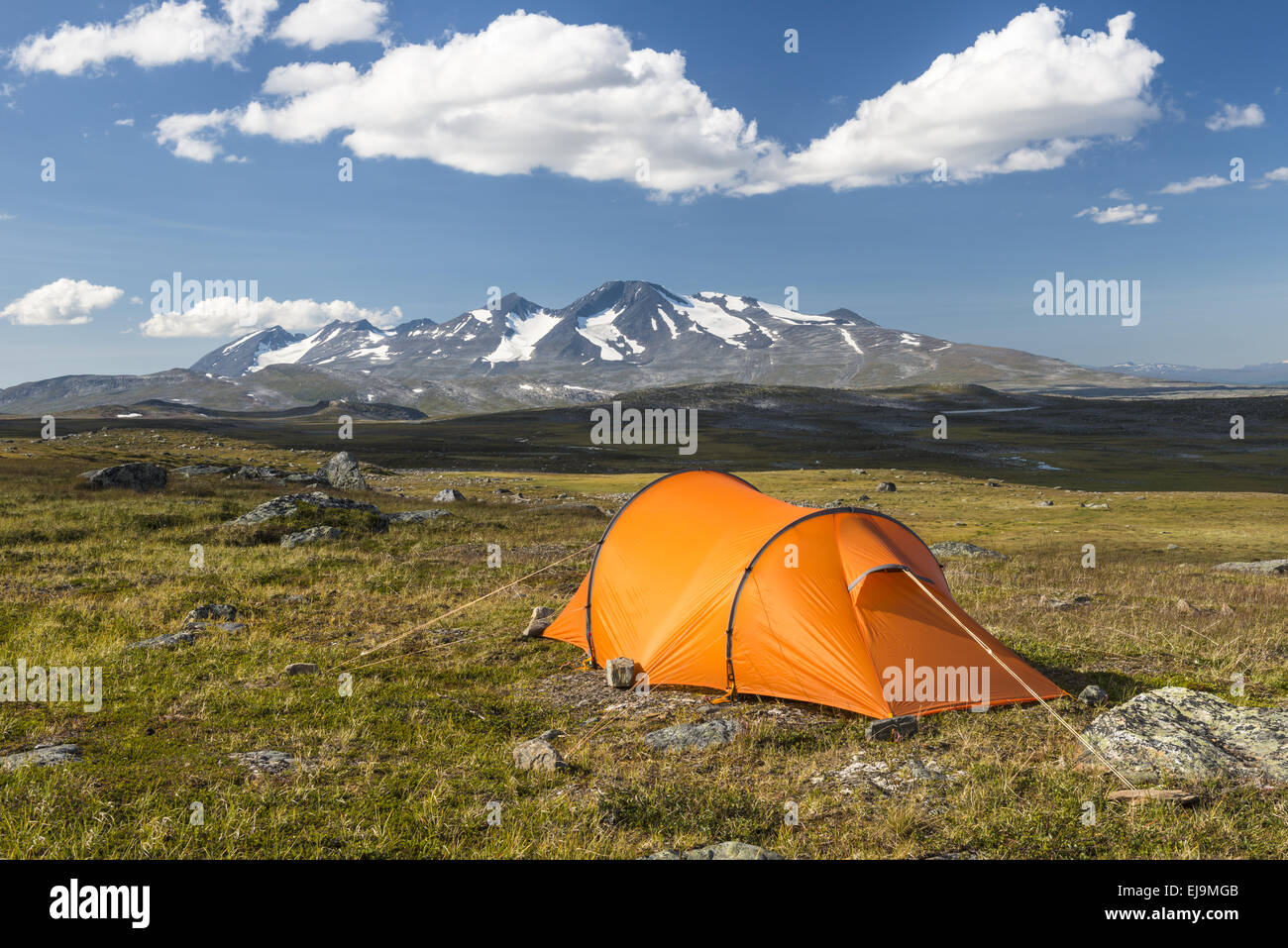 tent with Mt. Akka, Lapland, Sweden - Stock Image