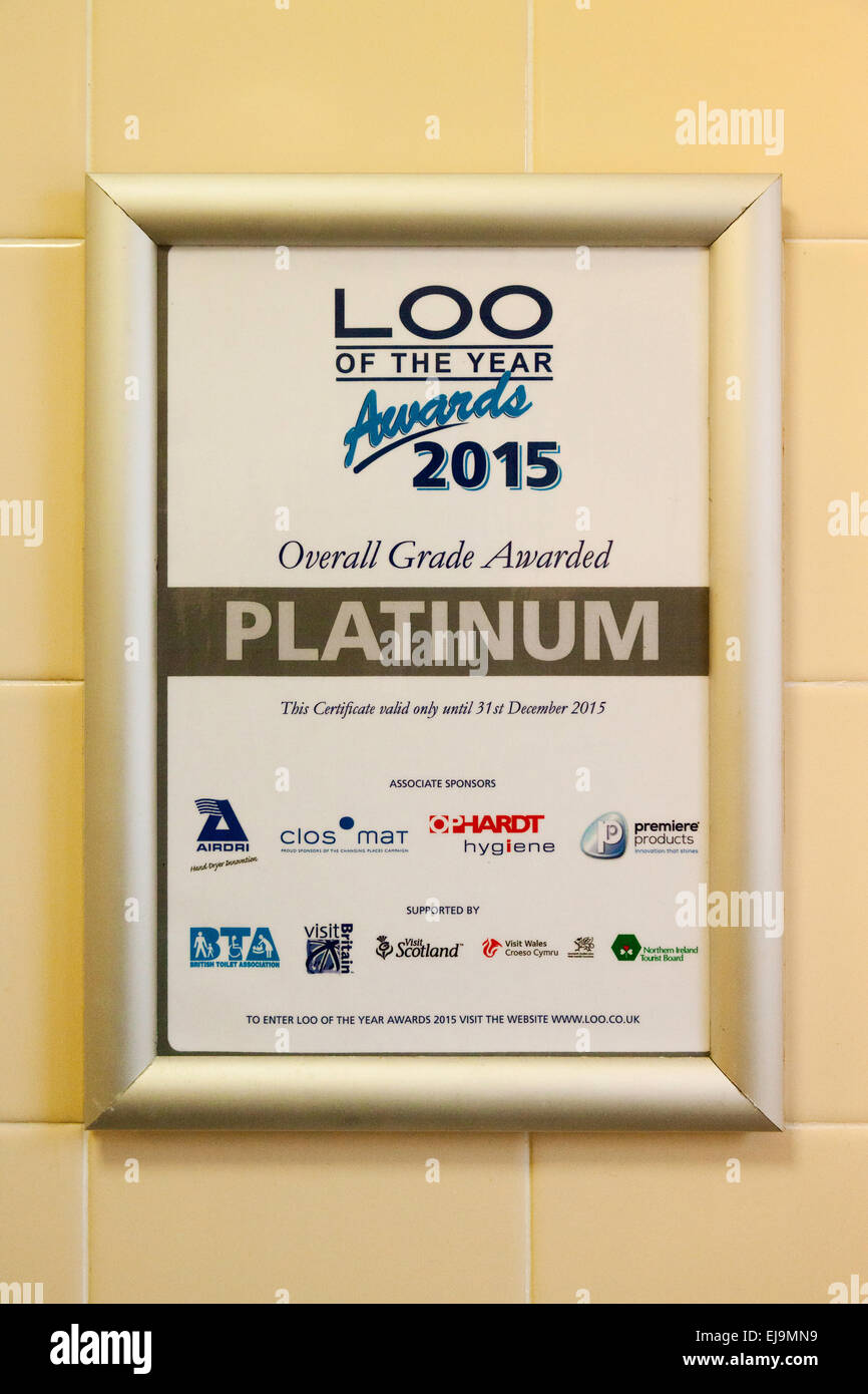 A platinum ' Loo of the Year ' award in a toilet, UK - Stock Image