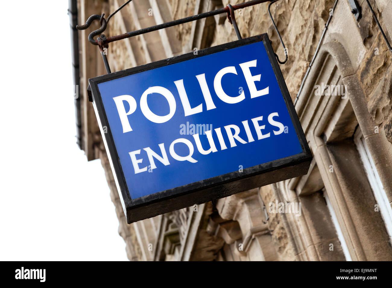 Police Enquiries sign, Leyburn, North Yorkshire, England UK - Stock Image