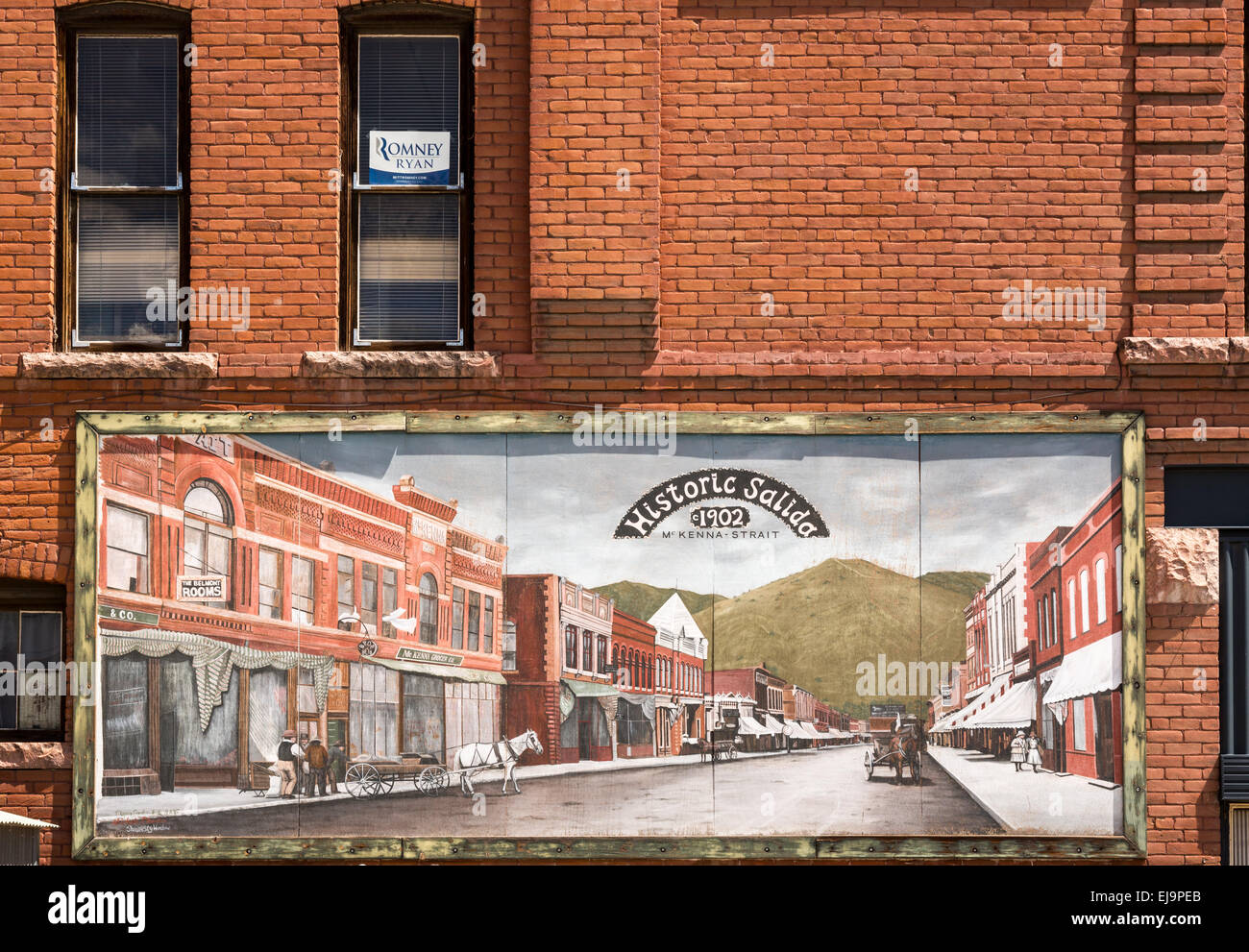 Painting of small Colorado town of Salida - Stock Image