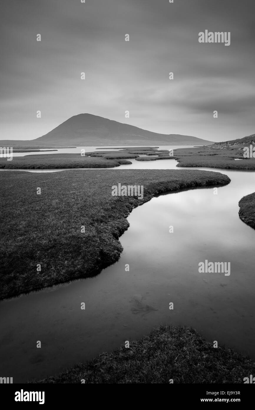The Rodel salt marsh on the Isle of Harris in the Outer Hebrides. - Stock Image