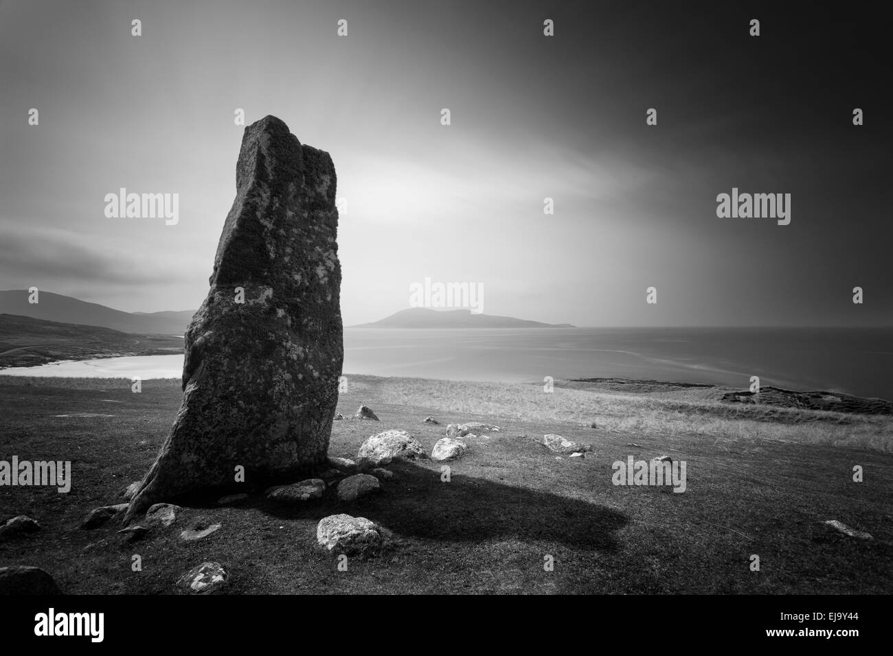 Macleod's stone, a prehistoric standing stone on the Isle of Harris in the Outer Hebrides. - Stock Image