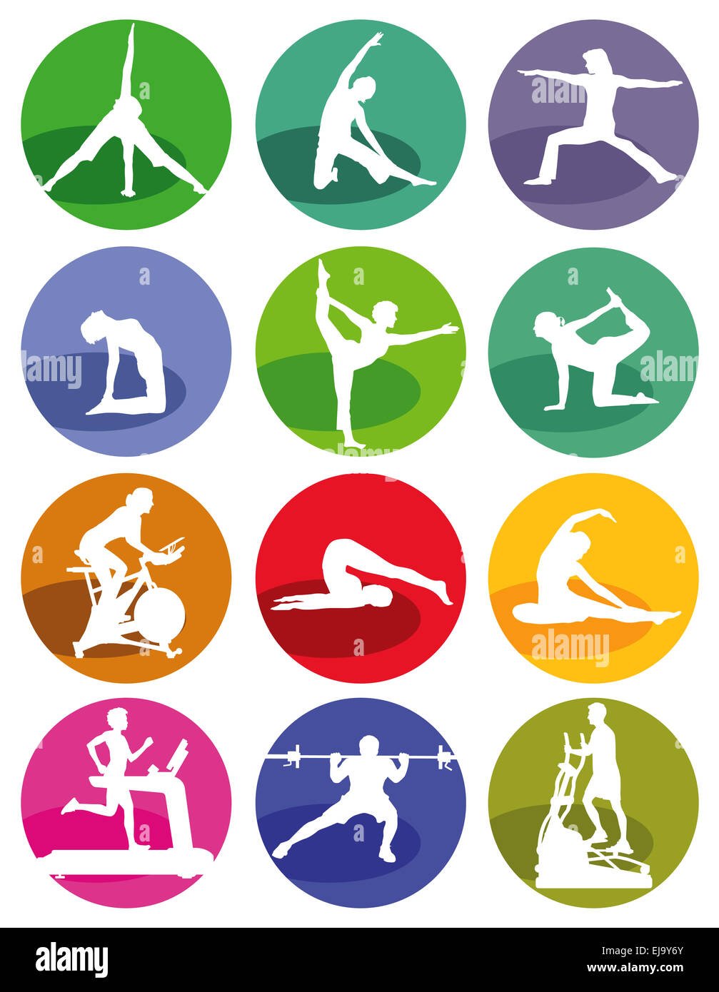 Gym and fitness figures on a white background Stock Photo