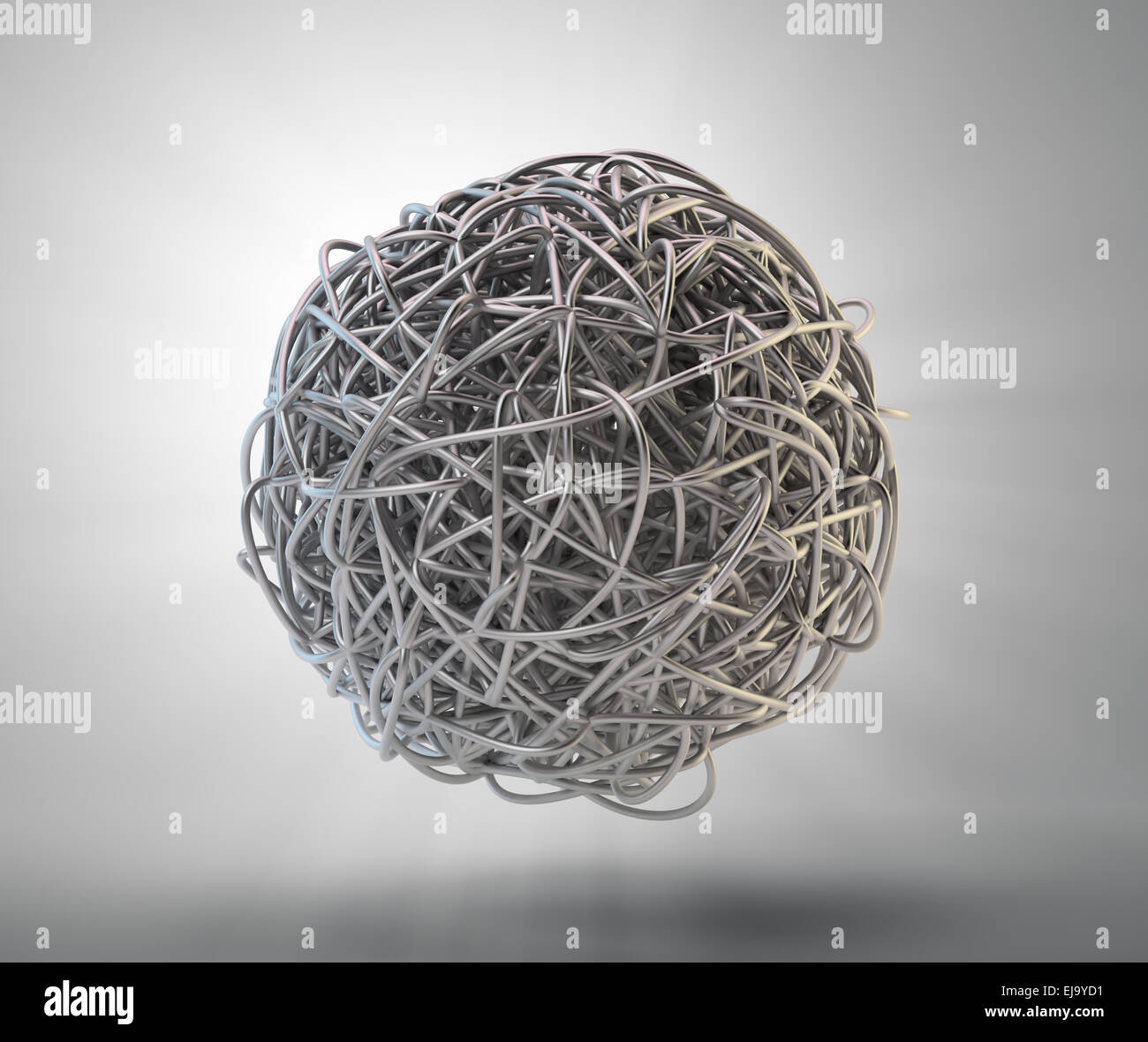 An abstract 3d rendering of tangled metal splines - Stock Image