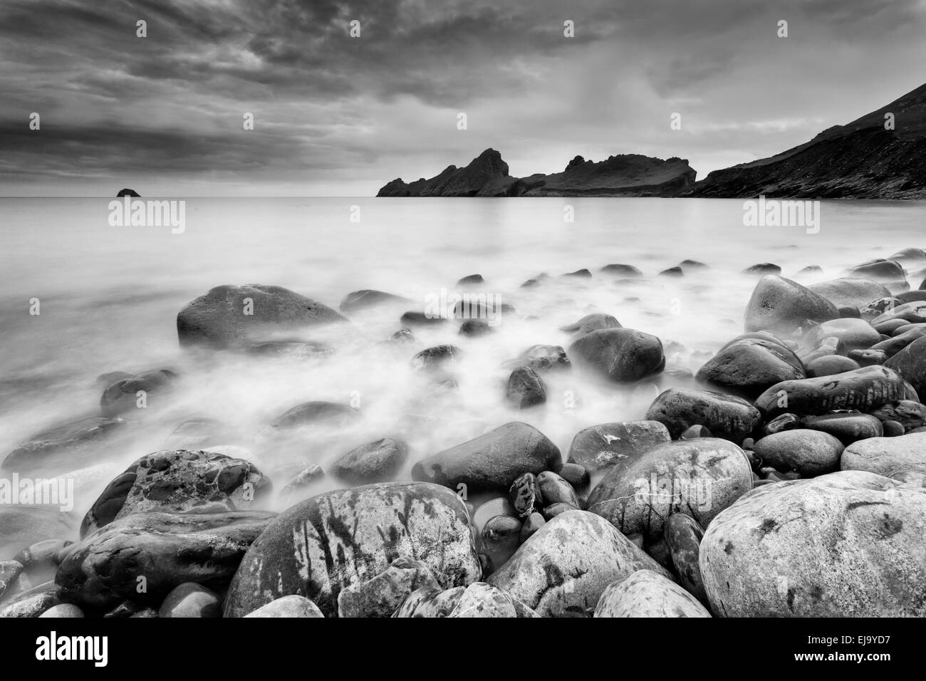 At low tide beautiful boulders are visible in Village Bay, St Kilda Scotland - Stock Image