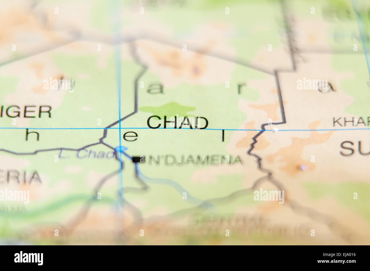 chad country on map - Stock Image