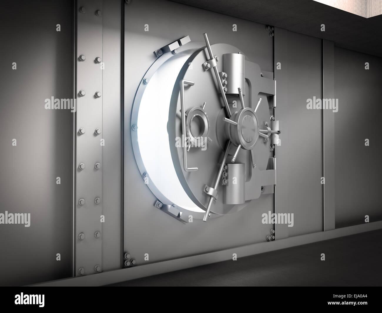 Slightly opened door to a massive bank vault - Stock Image