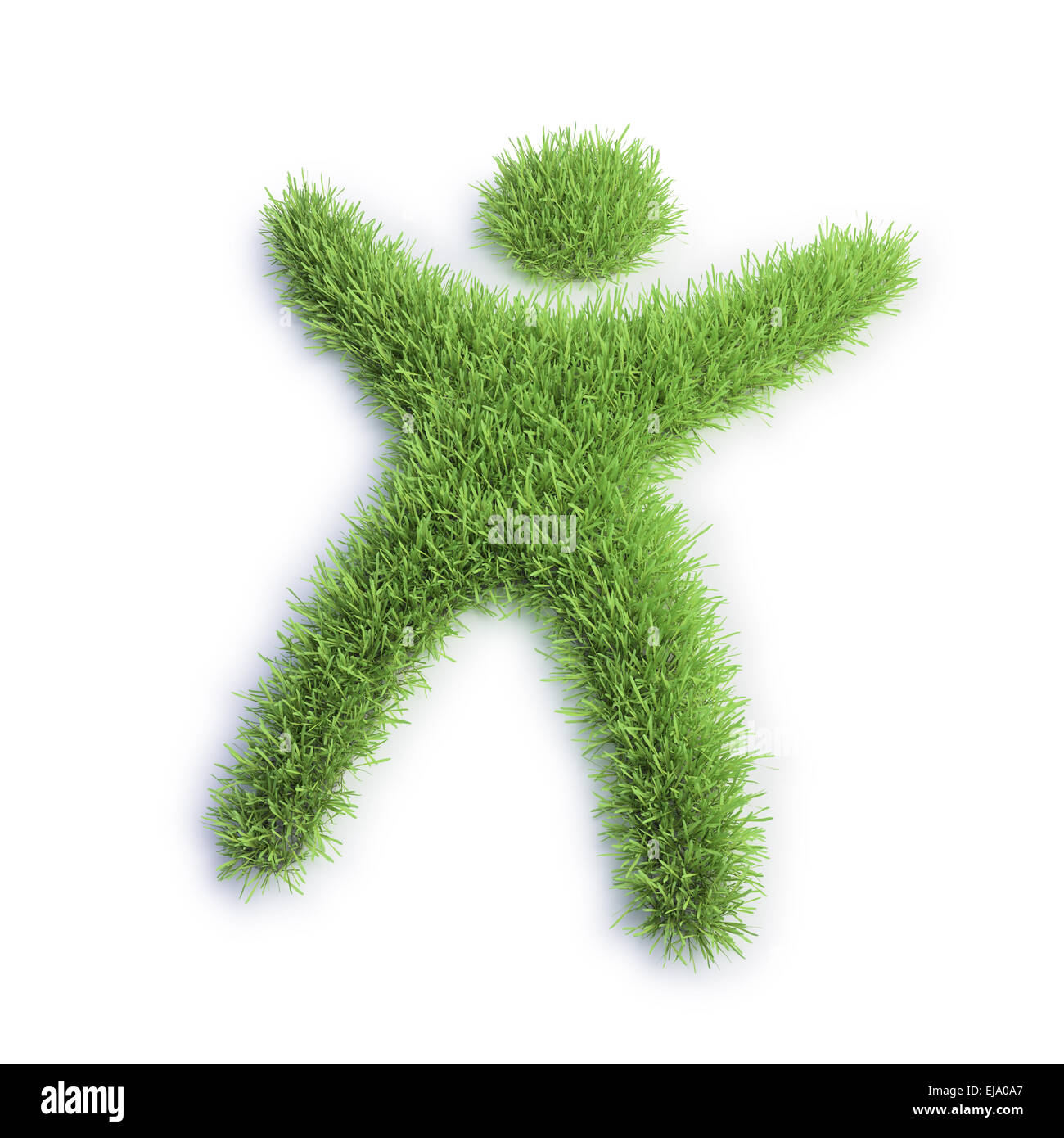 Green eco icon - grass patch shaped like a tiny human - Stock Image