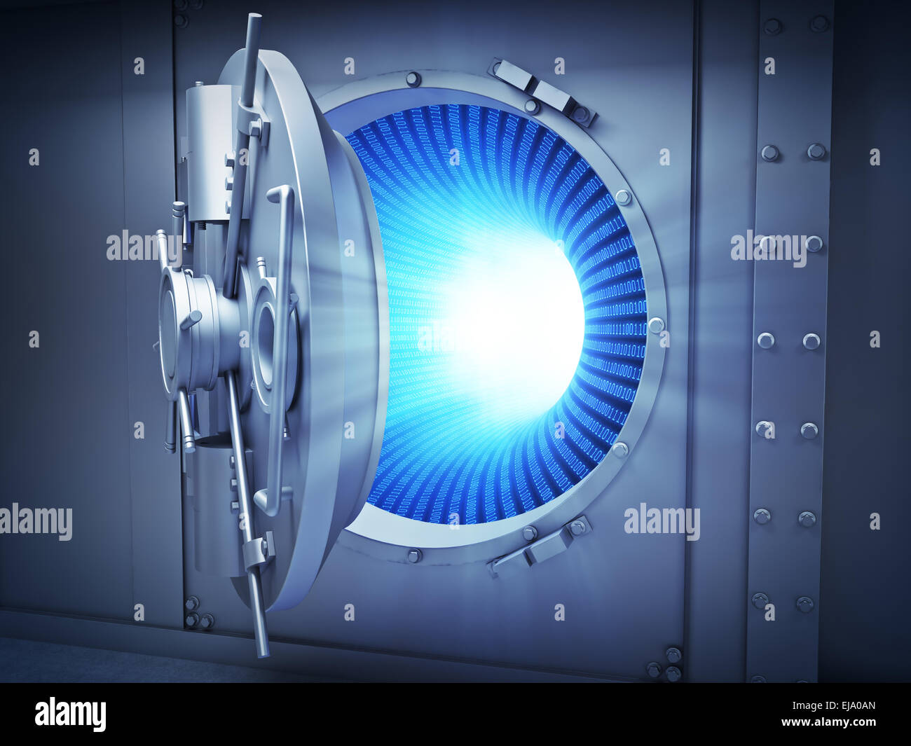 Large vault with binary code inside - data security concept - Stock Image