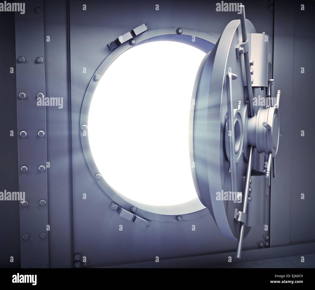 Opened door to a massive bank vault - Stock Image