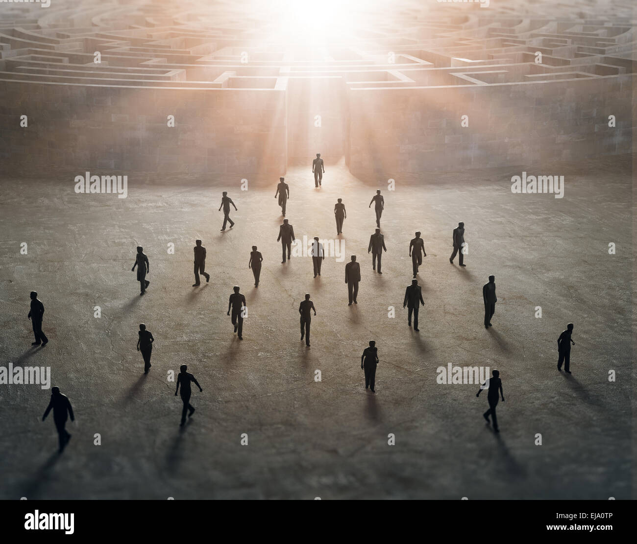 Tiny people walking out of a mysterious maze - Stock Image