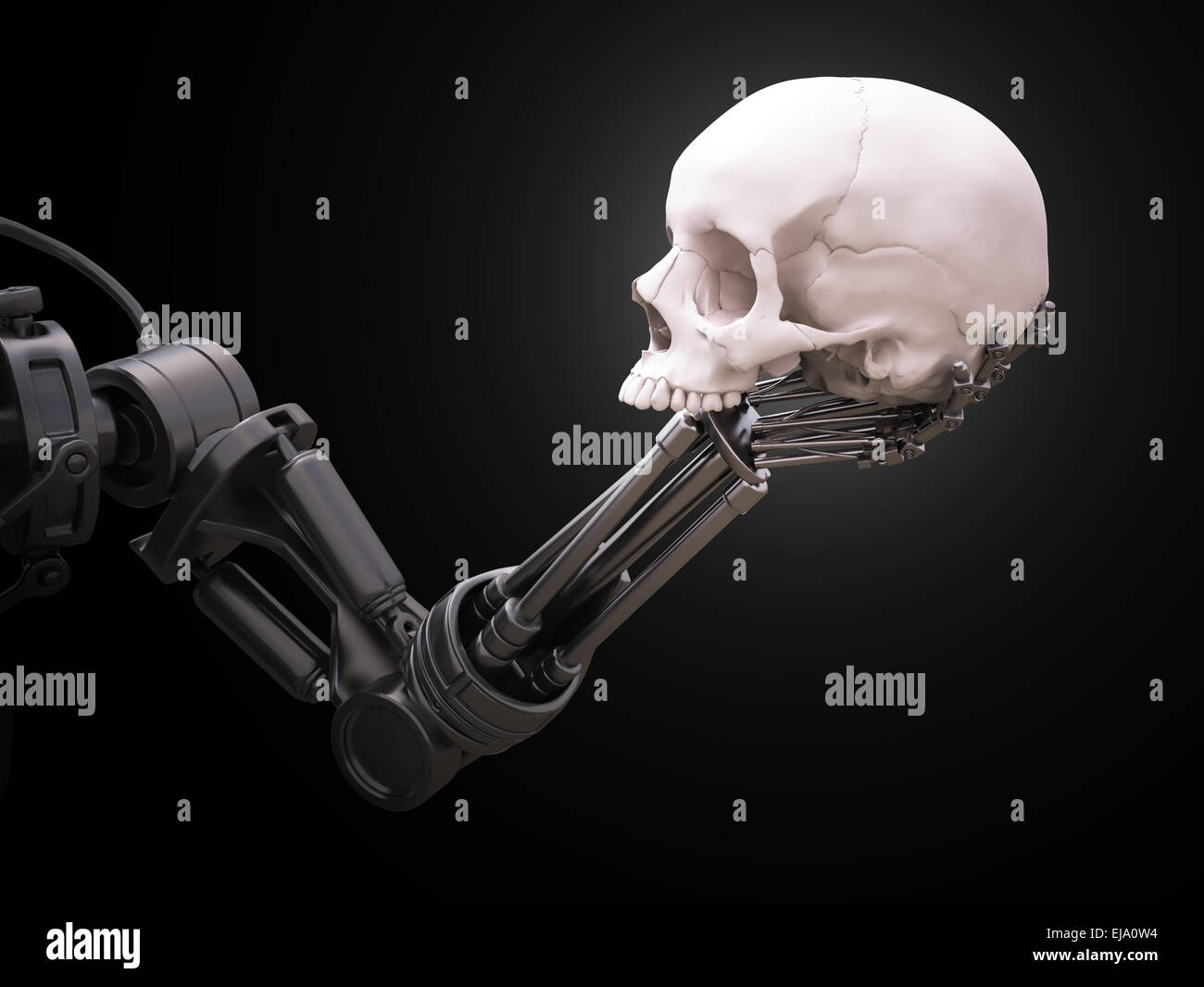 Robot arm holding a human skull - Stock Image