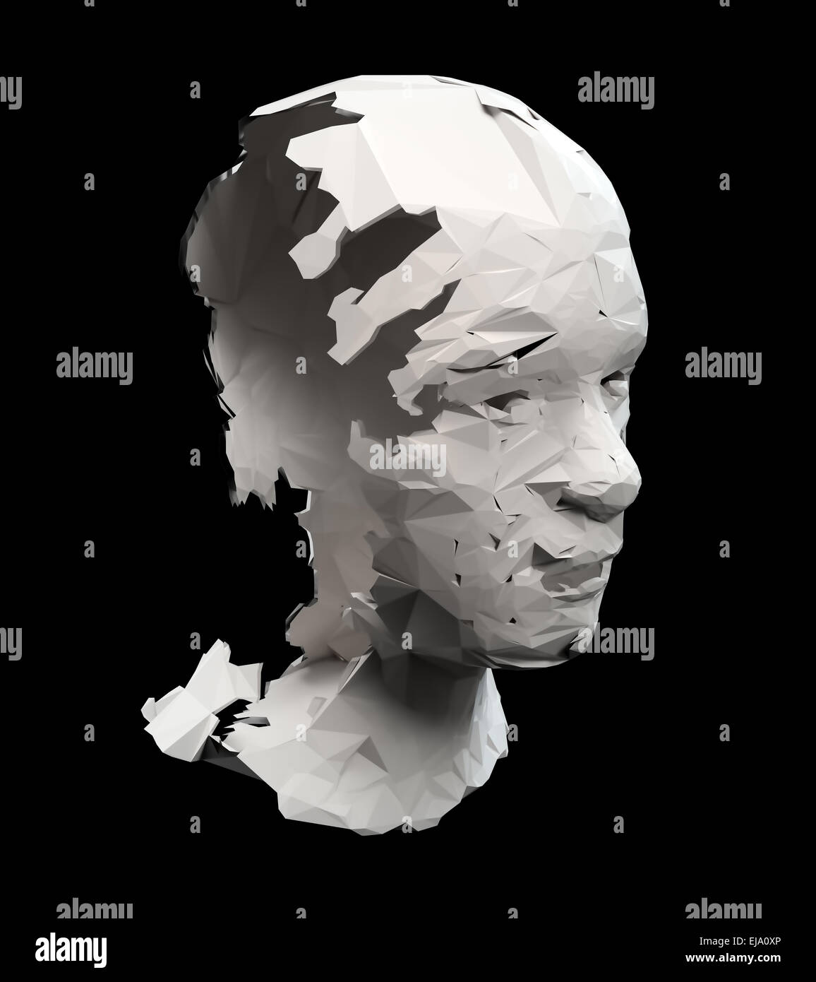 Broken head scultpure - depression concept illustration - Stock Image
